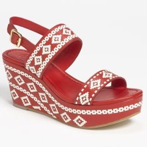 NWT Tory Burch Red White Leather Platform Sandal 8